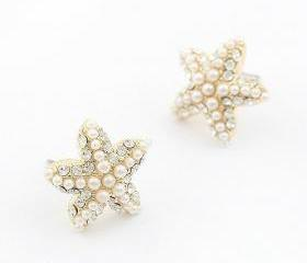 Fashion Rhinestone Pearl Starfish earring/ear stud earrings