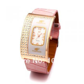 Exquisite Leather Band Quartz Watch with Crystal Rhinestones for Girl/ pink